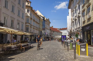 Ljubljana, Slovenia, August 5, 2019. Picturesque city view. Beautiful street in the historical part of the city