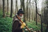 Fotografie staré vousy lesník se sekyrou, procházky v lese