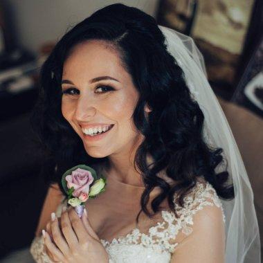 """Картина, постер, плакат, фотообои """"Портрет счастливой невесты в элегантном свадебном платье"""", артикул 273051524"""