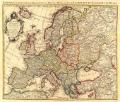 Stará mapa Evropy. Vintage mapa světa s kontinenty a ostrovy. Zeměpisná retro mapa světa.