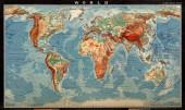 Vintage mapa světa s kontinenty a ostrovy. Zeměpisná retro mapa světa.