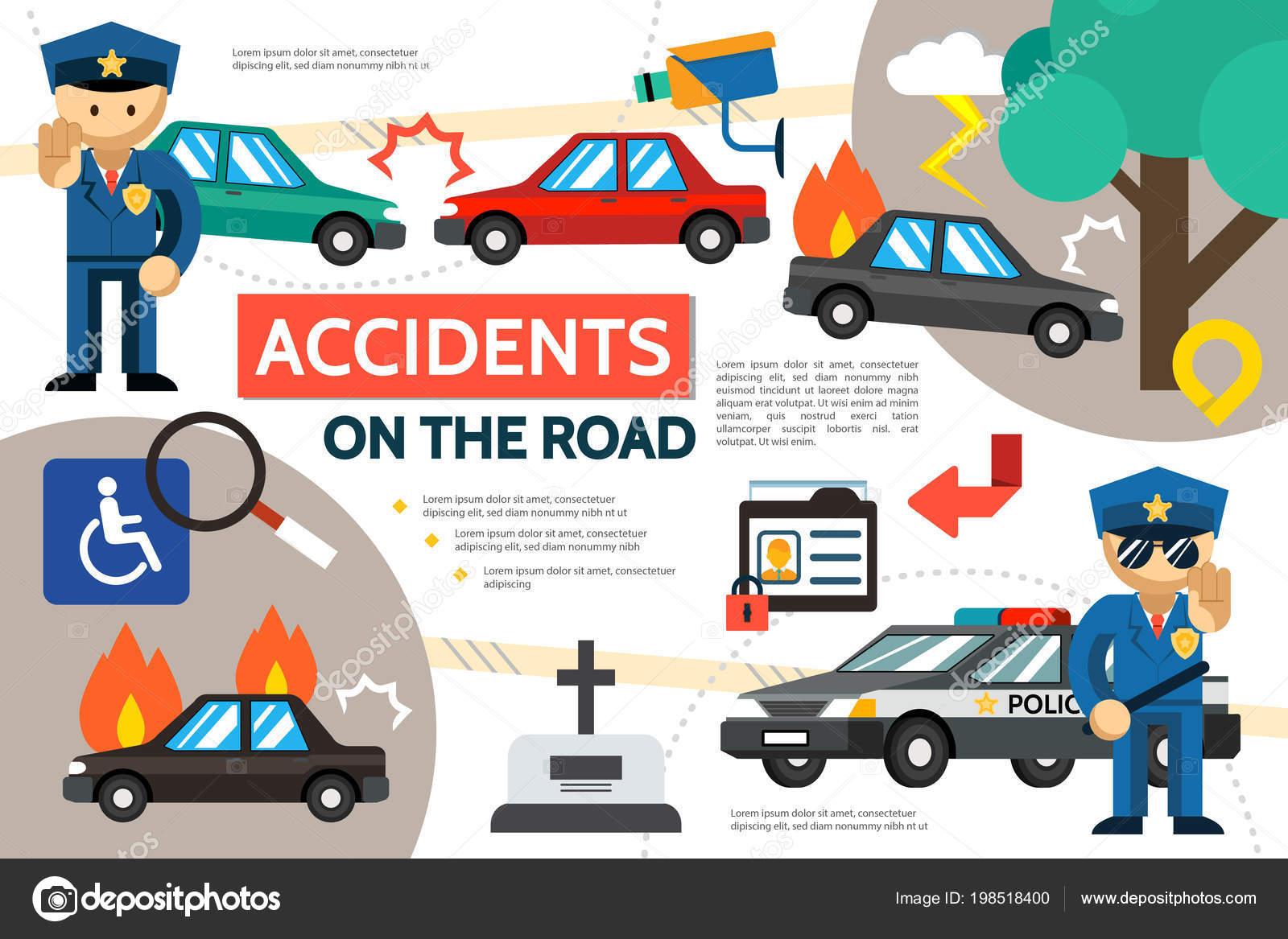 Flache Straße Unfall Infografik Vorlage — Stockvektor © MSSA #198518400