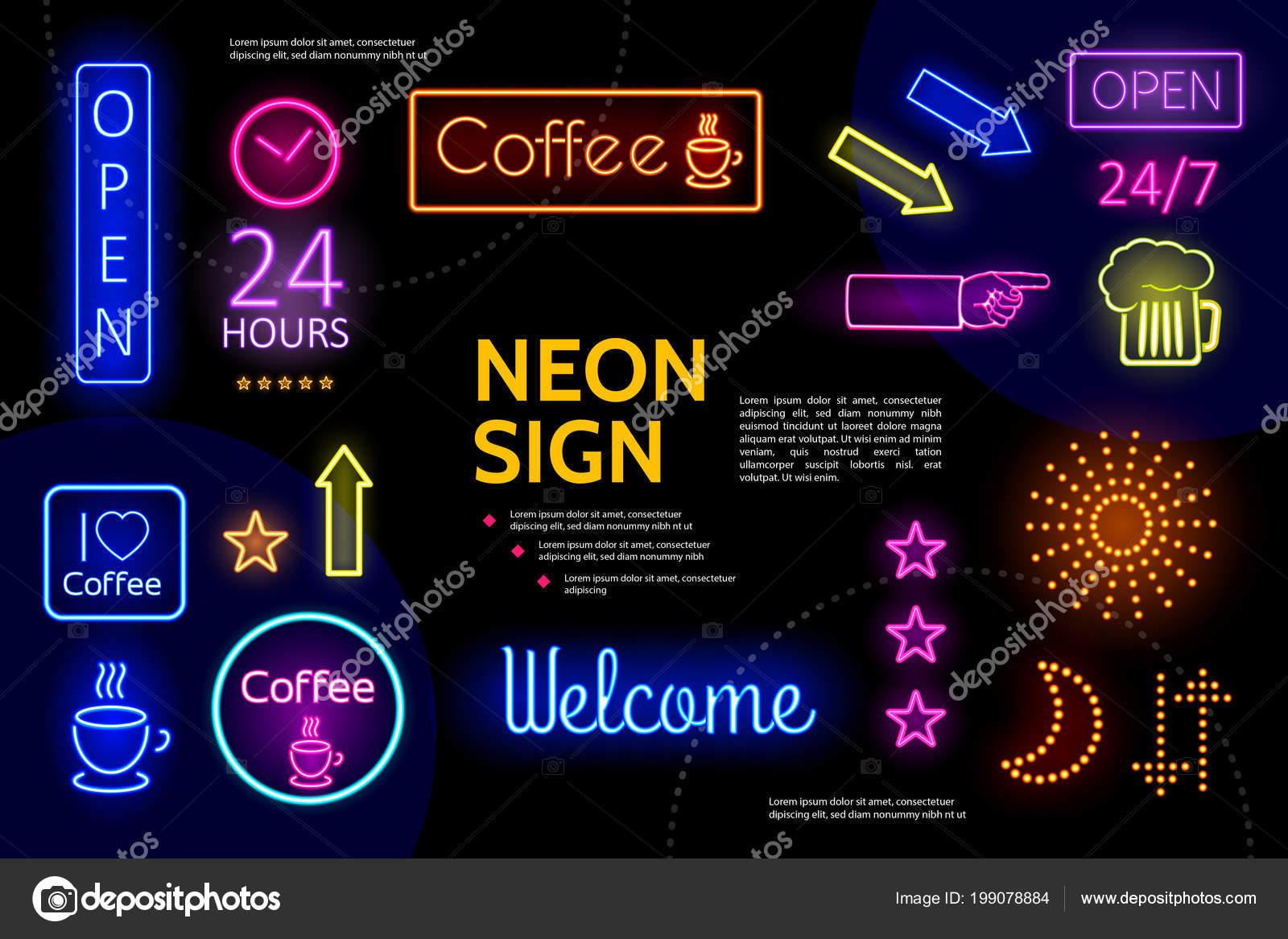 beleuchtete werbung neon schilder zusammensetzung. Black Bedroom Furniture Sets. Home Design Ideas