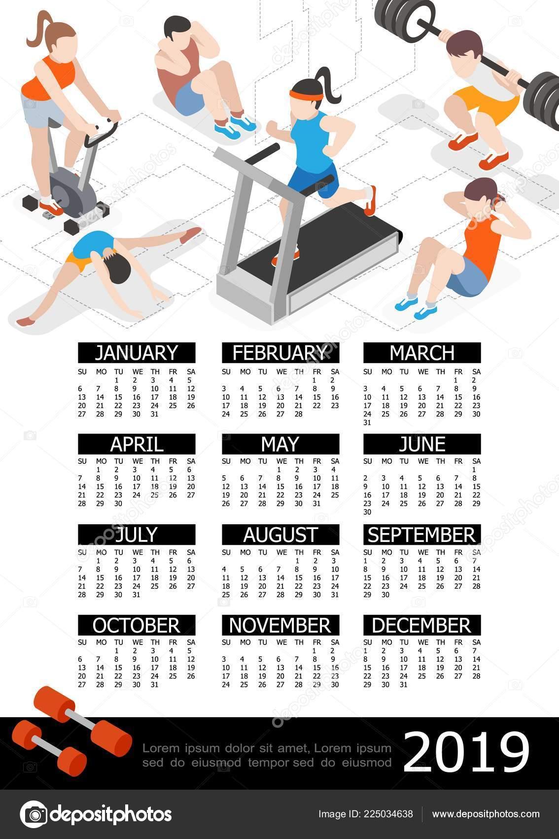 Calendario Fitness 2019.Isometric Fitness 2019 Year Calendar Template Stock Vector