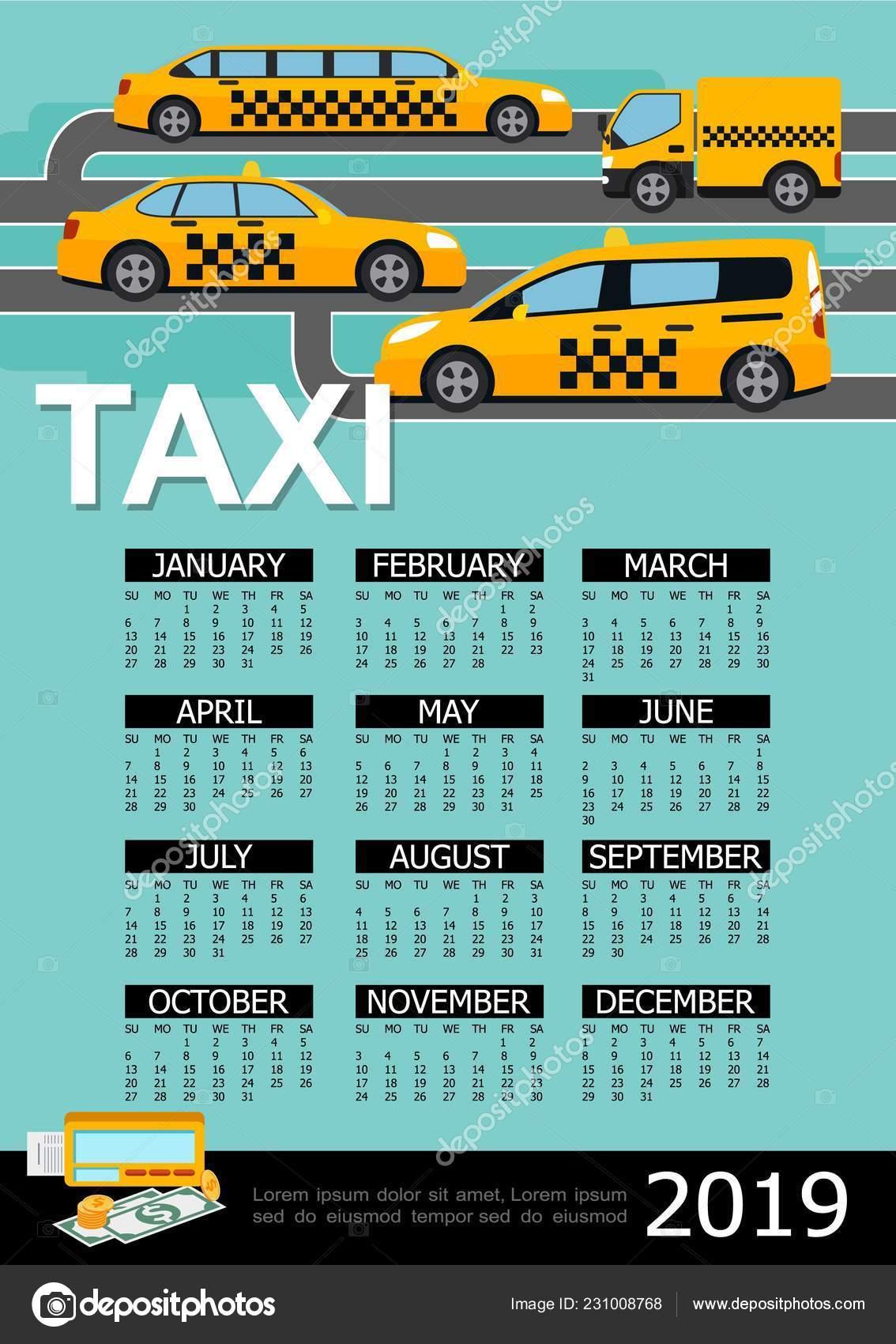 Calendario Camion 2019.Modello Di Piano Taxi 2019 Anno Calendario Vettoriali