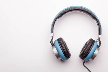 blue headphone on white background, isolated