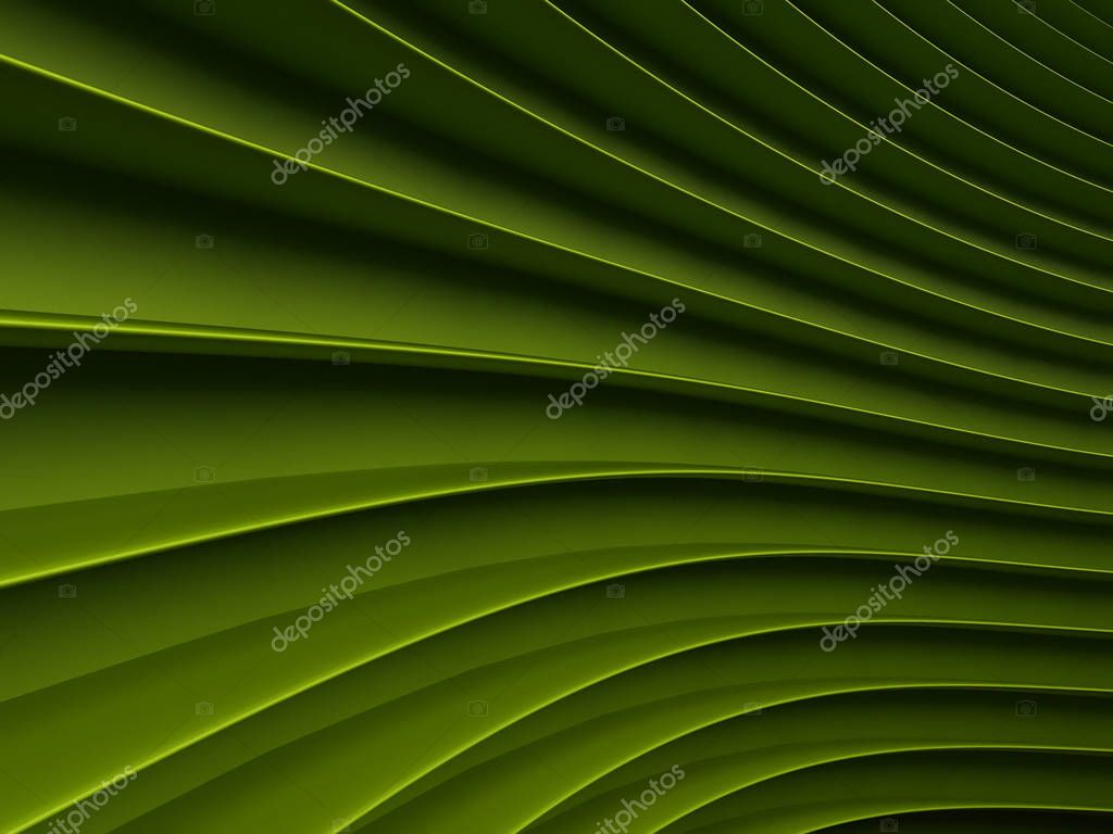 background of green 3d abstract waves. render