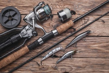 Fishing tackle for catching predatory fish. Wobblers, spinning, reel, fishing line