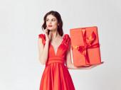 Várakozás a boldogság gyönyörű nő ajándék doboz Karácsony
