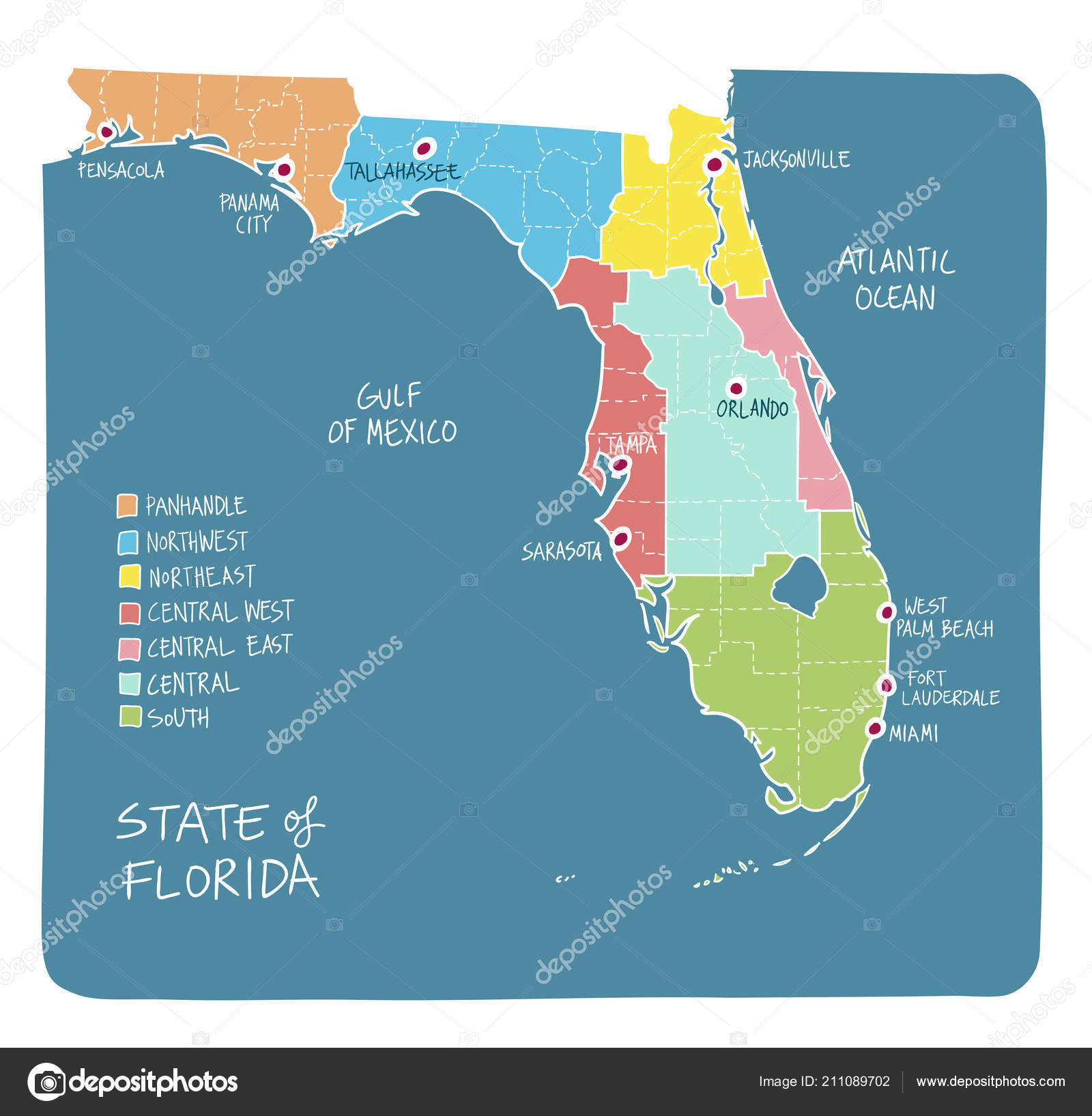 Map State Of Florida.Hand Drawn Map State Florida Regions Counties Main Cities Colorful