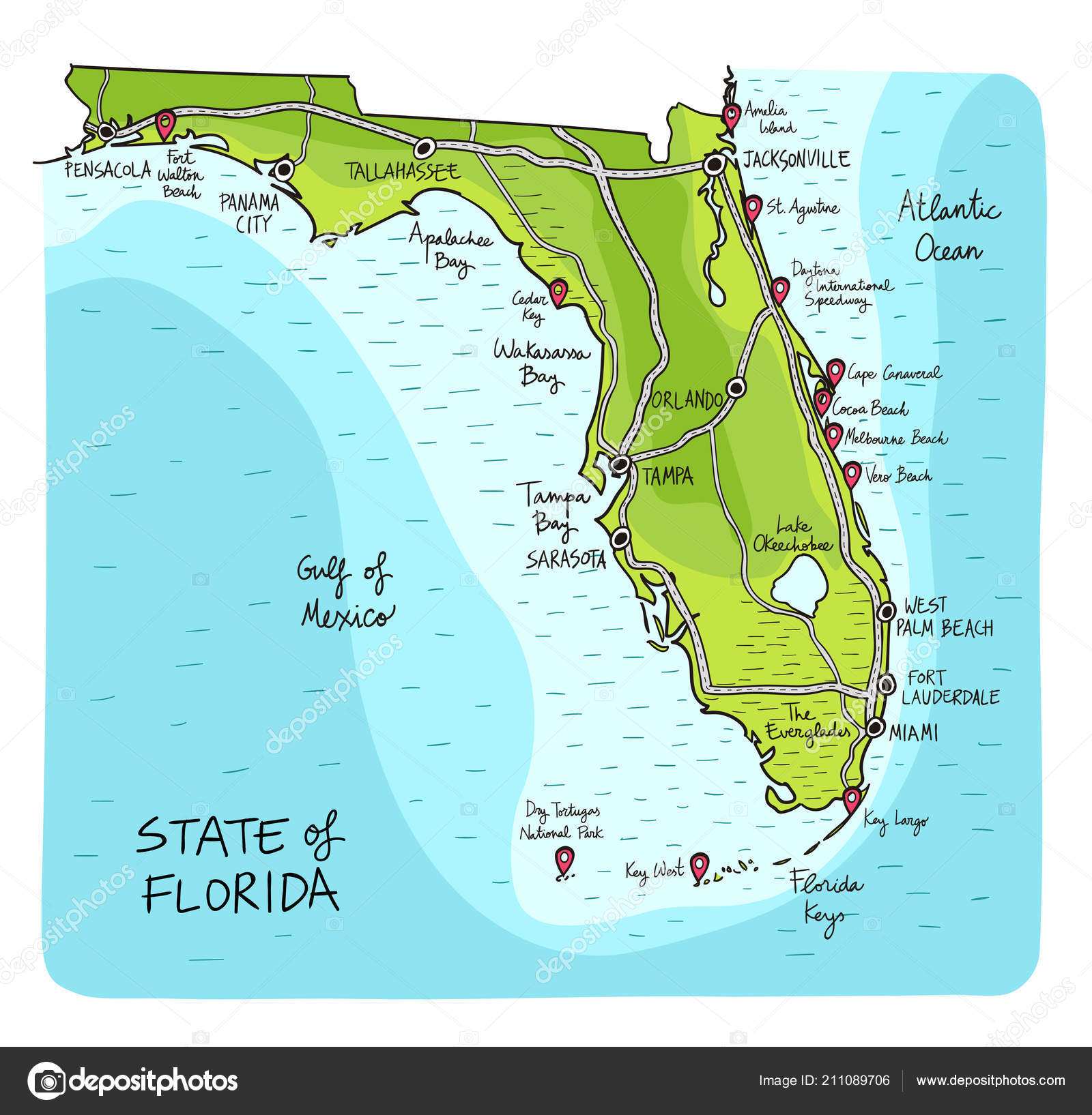 Map Of The State Of Florida.Hand Drawn Map State Florida Main Cities Points Interest Colorful