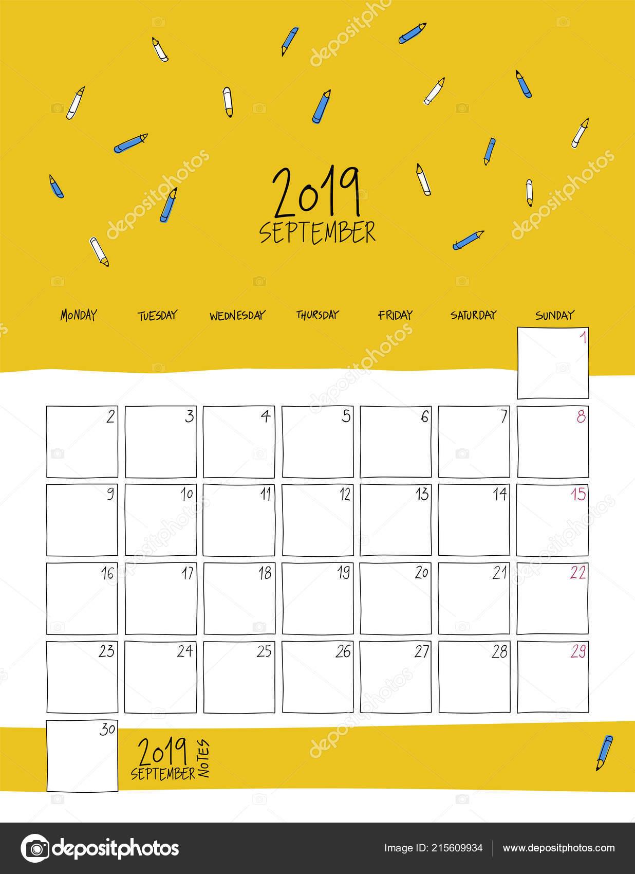 Calendario Dibujo Septiembre.Calendario Pared Septiembre 2019 Dibujo Colorido Plantilla