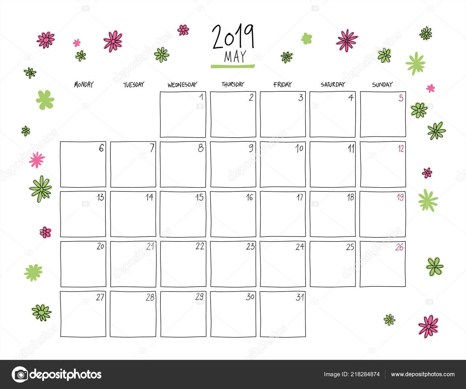 03fcd6731 Calendario de pared de mayo de 2019. Plantilla horizontal de dibujo  colorido.