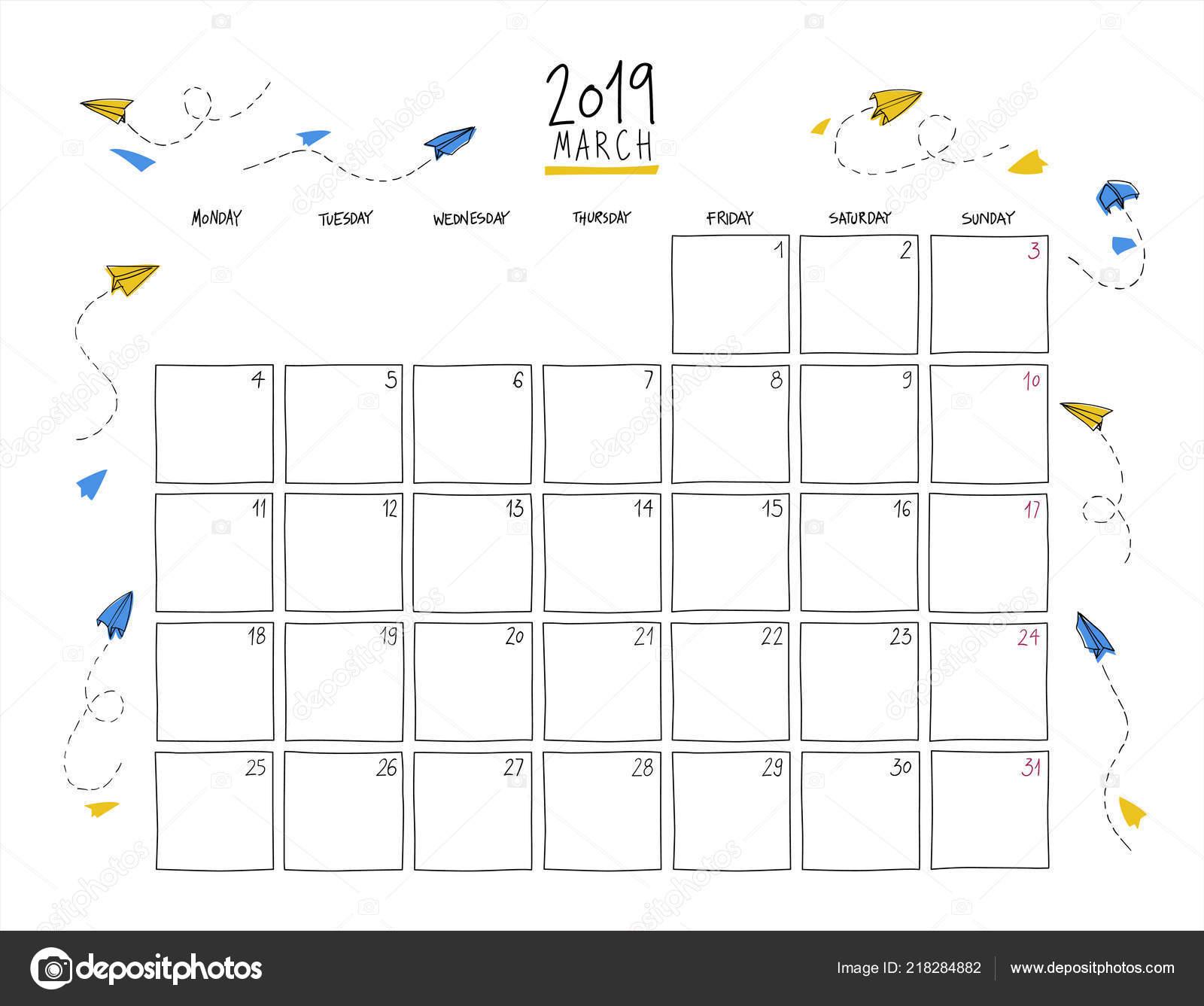Marzo Calendario.Calendario Parete Marzo 2019 Schizzo Variopinto Orizzontale Modello
