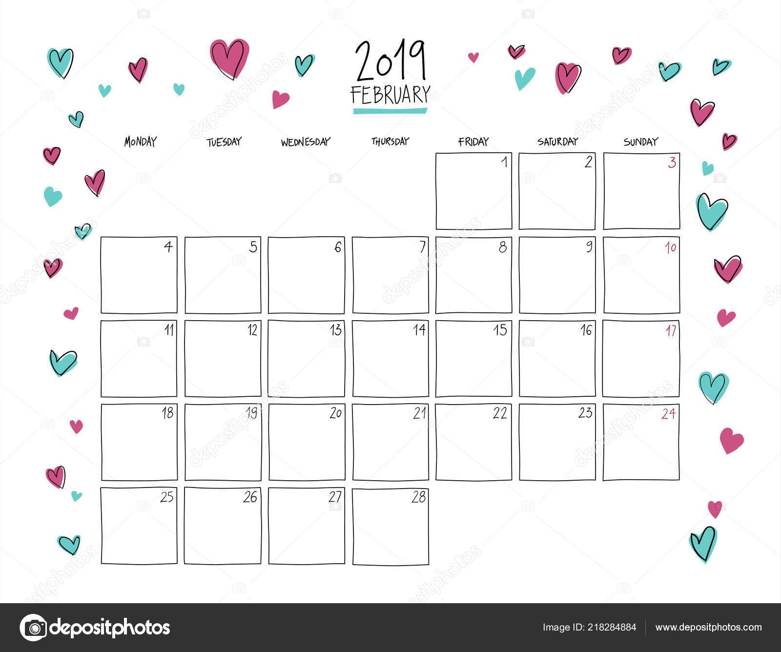 60b5c5b7f Calendario de pared de febrero de 2019. Plantilla horizontal de dibujo  colorido.