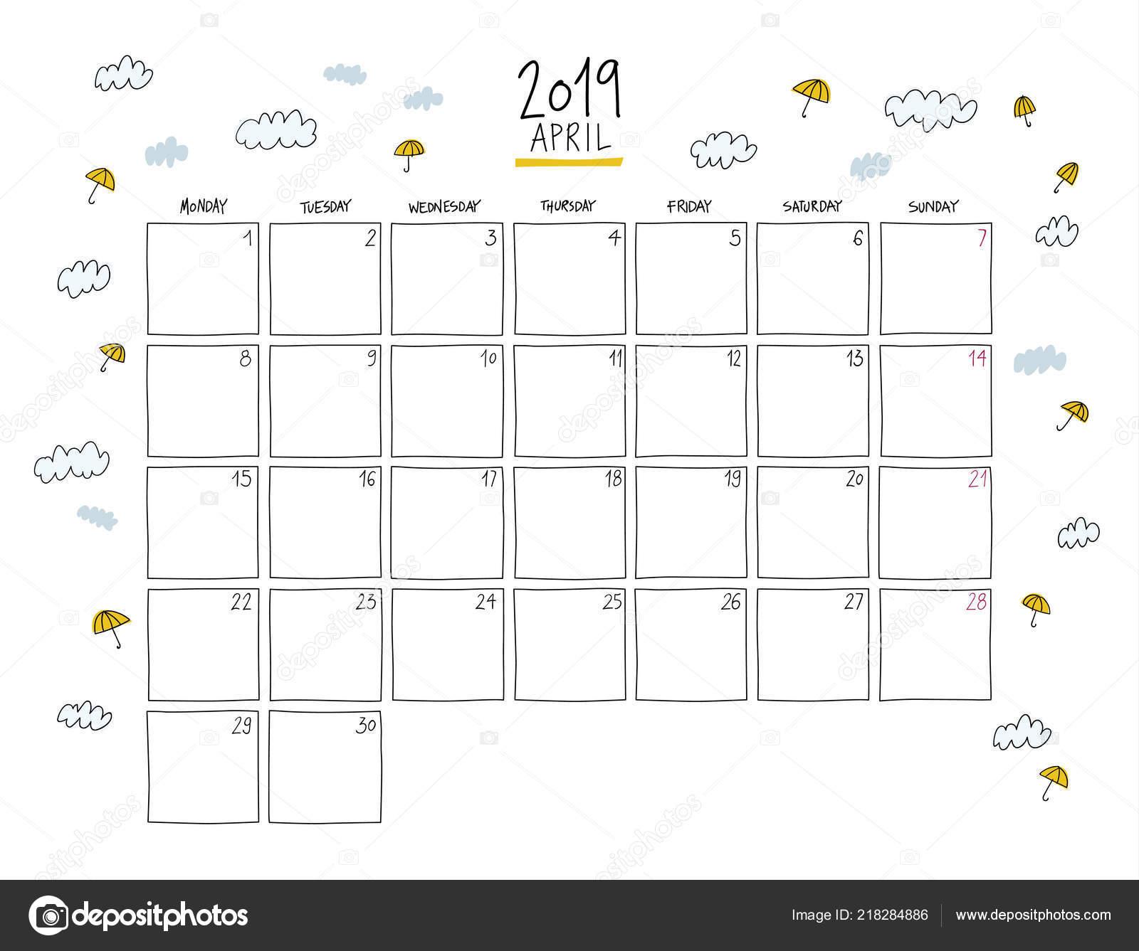 0d09231db Calendario de pared de abril de 2019. Plantilla horizontal de dibujo  colorido.