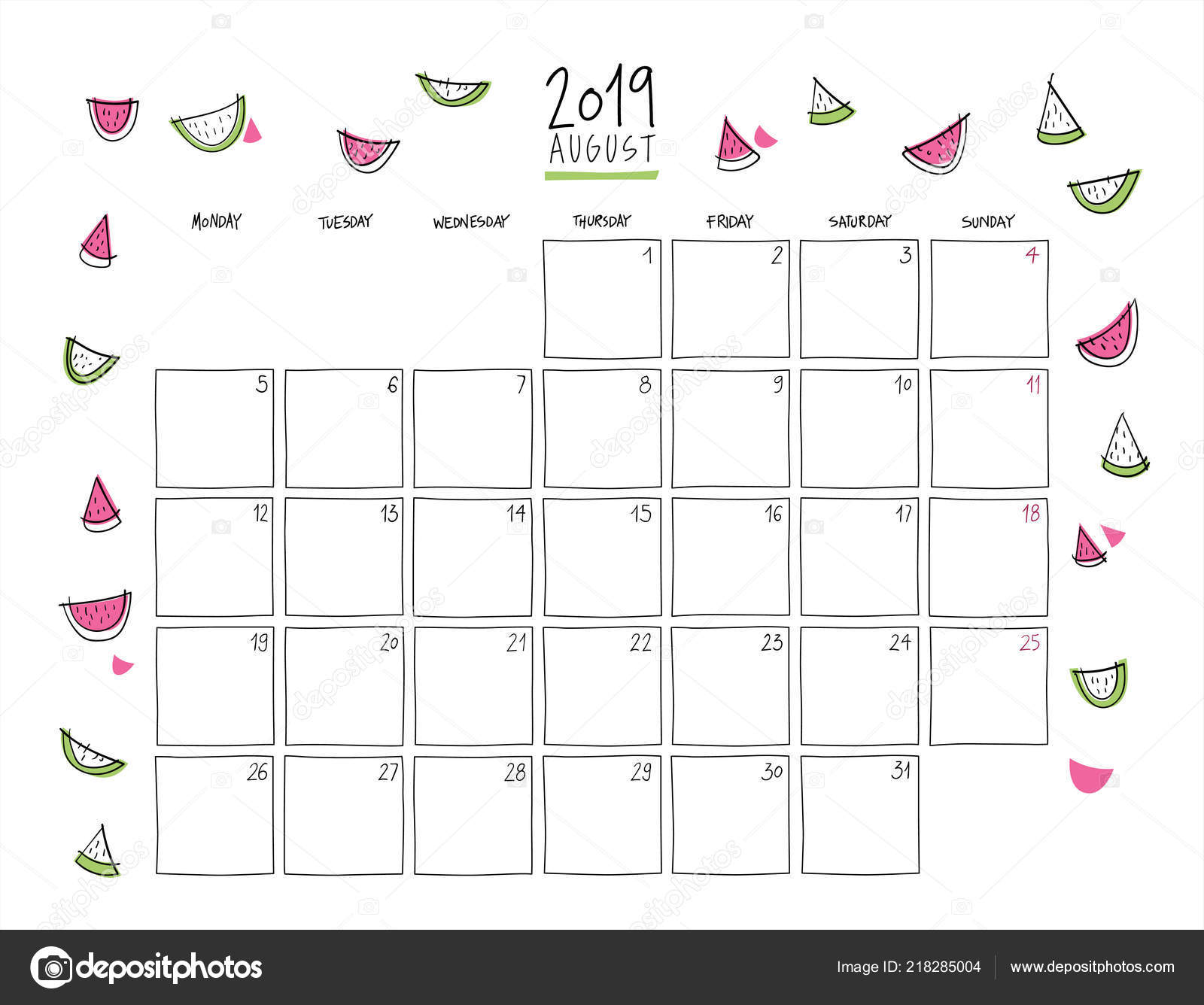 f7ca2f34d Calendario de pared de agosto de 2019. Plantilla horizontal de dibujo  colorido.