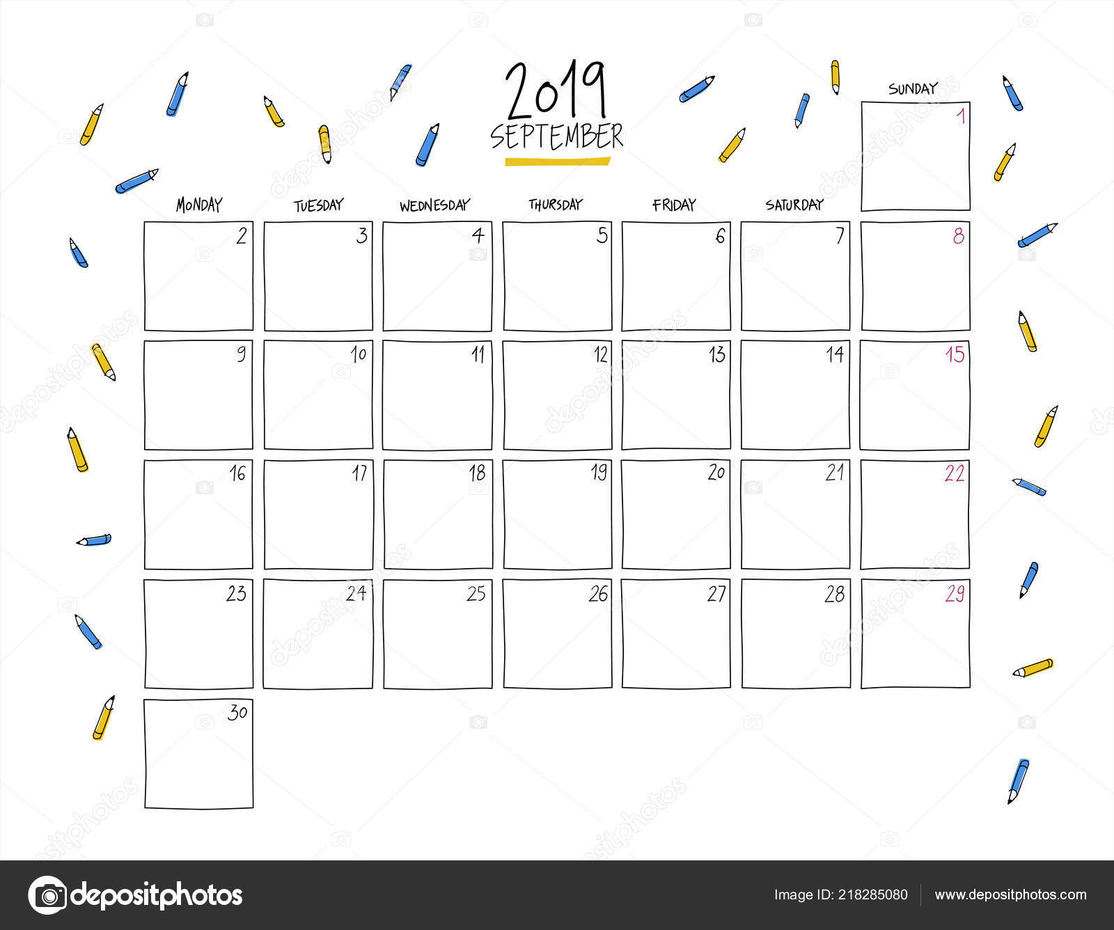 Calendario Dibujo Septiembre.Calendario Pared Septiembre 2019 Plantilla Horizontal Dibujo