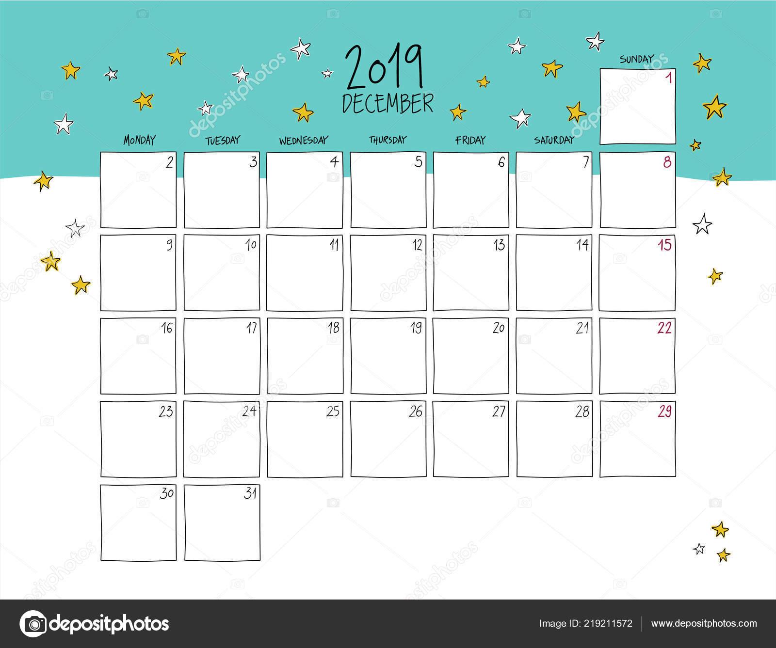 December 2019 Wall Calendar Colorful Sketch Horizontal ...