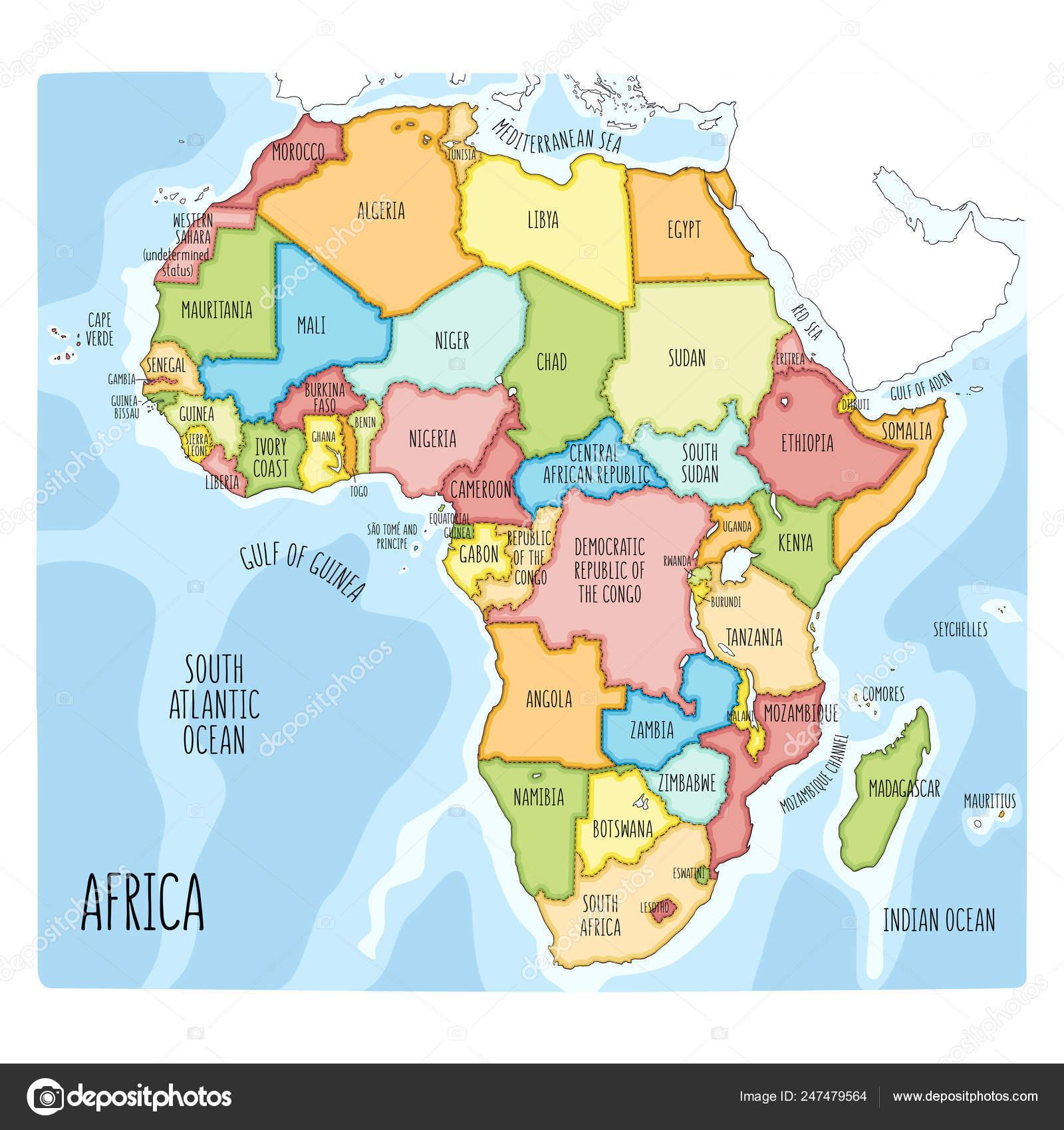 Africa Politica Cartina In Italiano.Mappa Disegnata A Mano Variopinta Politico Dell Africa
