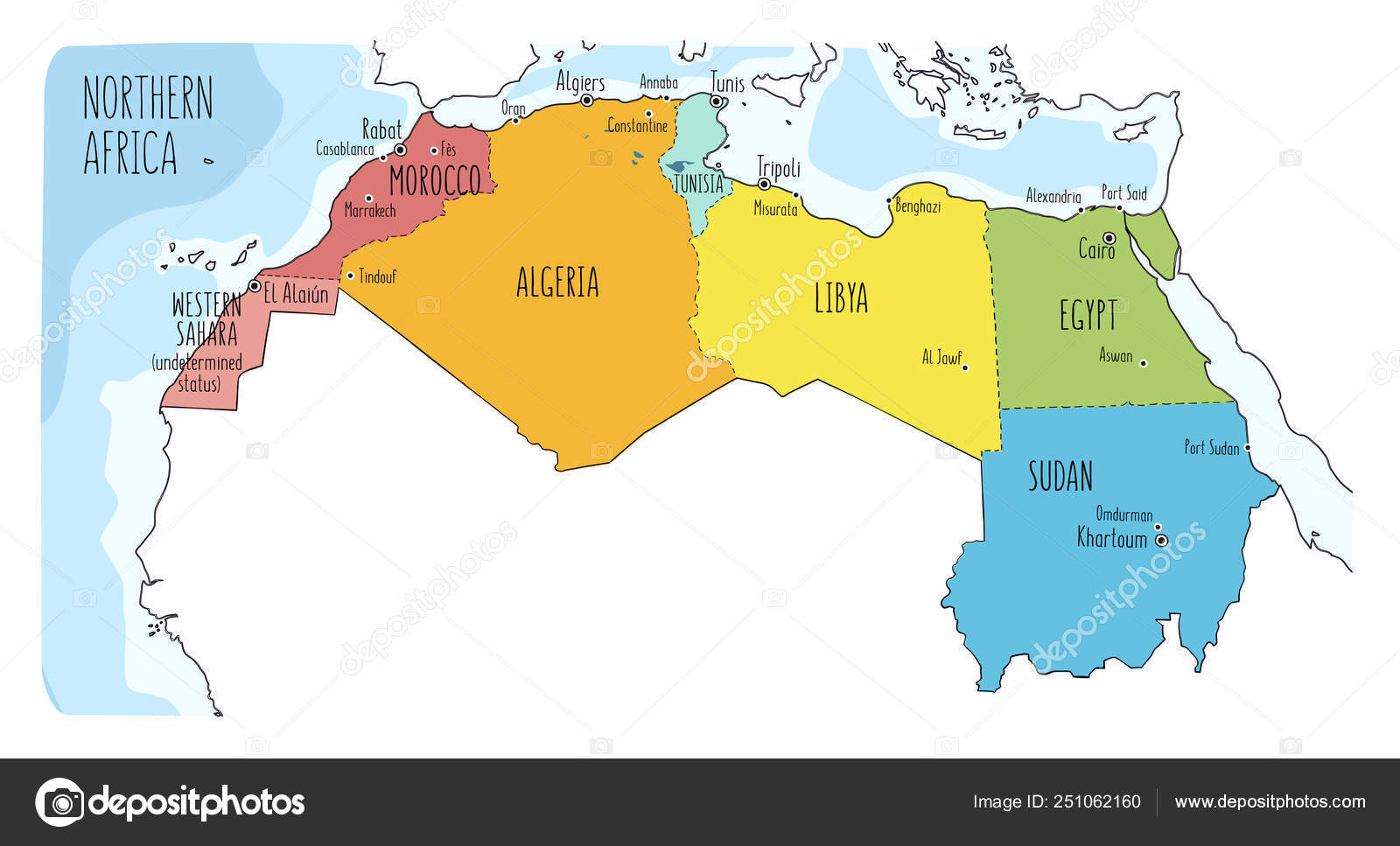 Colorful Hand Drawn Political Map Of Northern Africa With