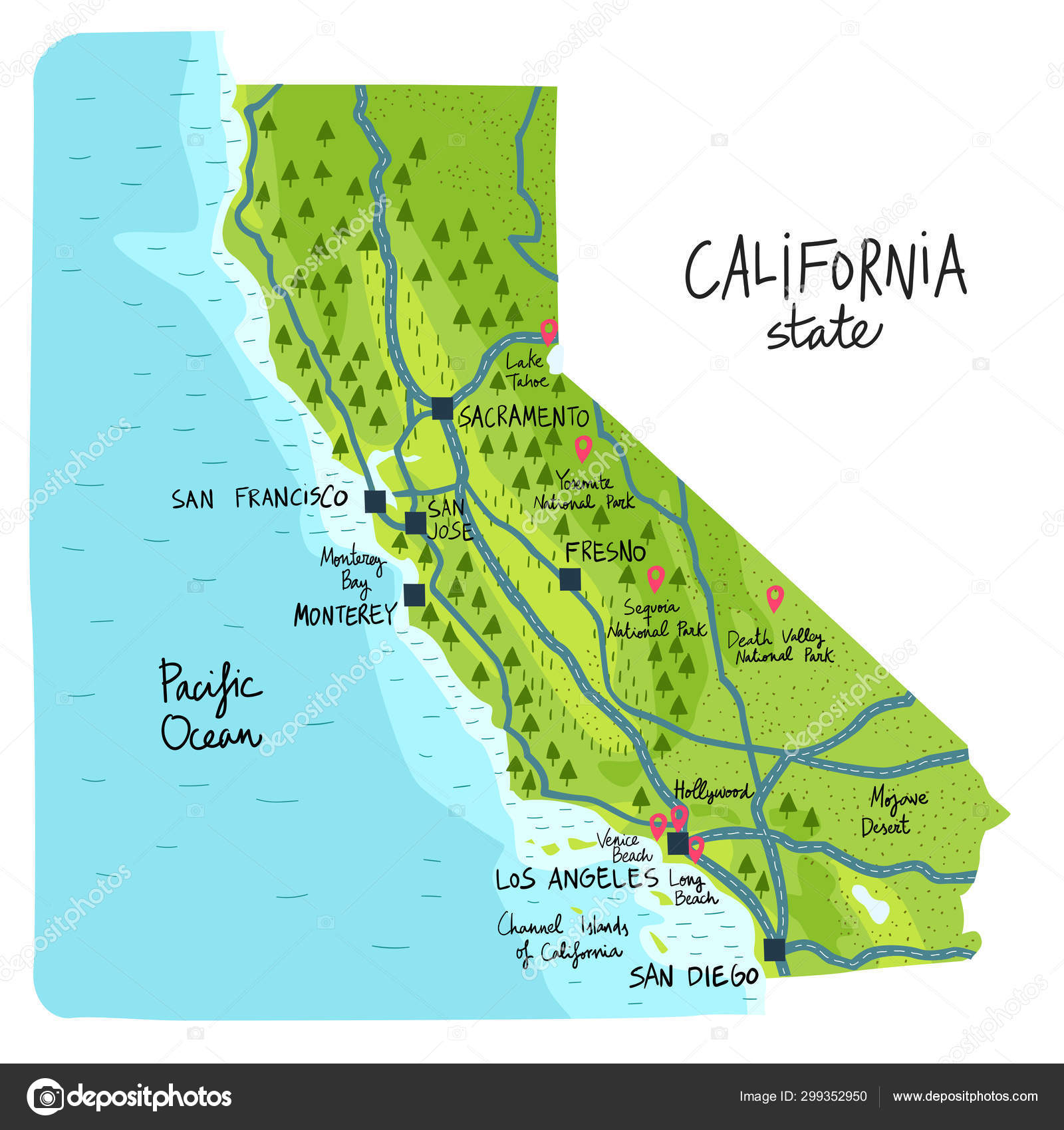 Map of California state of the USA, with landmarks. — Stock ...
