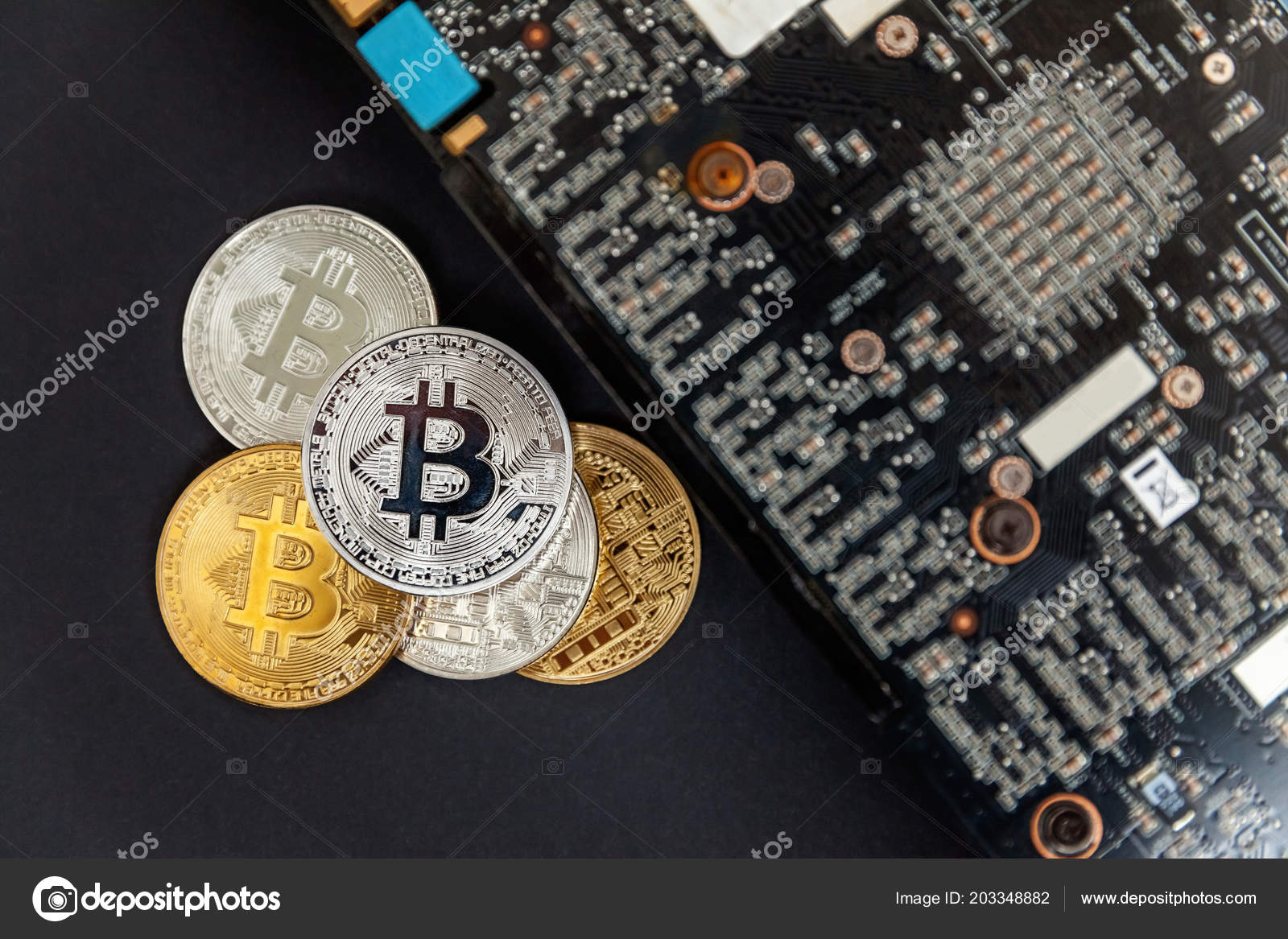 Bitcoins Lie Video Card Concept Mining Electronic Virtual Money Web Circuit Symbols Stock Photo For Banking And International Network Payment Symbol Of Crypto Currency By Luljo