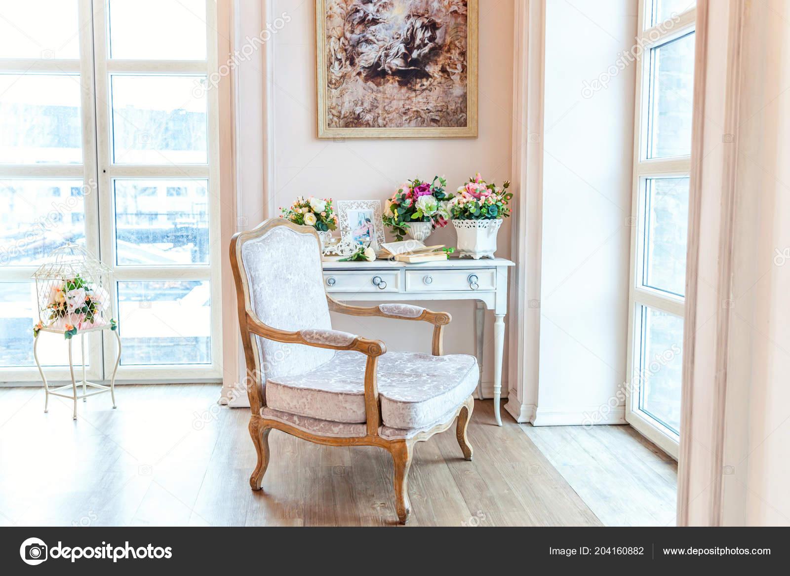 Beautiful Luxury Classic White Bright Clean Interior Bedroom Baroque Style Stock Photo C Luljo 204160882
