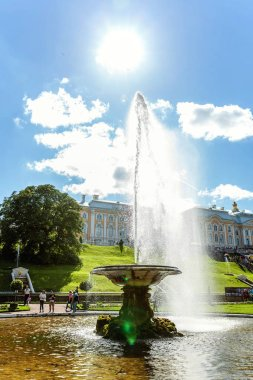 The palace and park ensemble of Peterhof. Fountain-bowl or Italian fountain in Peterhof, Saint Petersburg, Russia