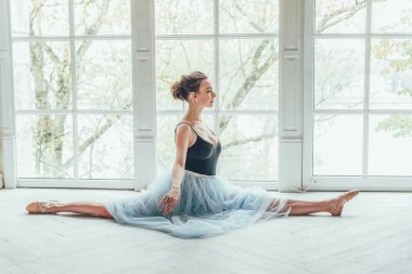 Young classical ballet dancer woman in dance class. Beautiful graceful ballerina practice ballet positions in blue tutu skirt near large window in white light hall