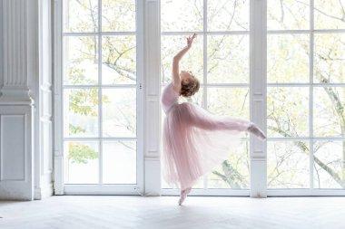 Ballerina girl in a pink ballet skirt. Beautiful graceful ballerine practice ballet positions in tutu skirt near large window in white light hall.