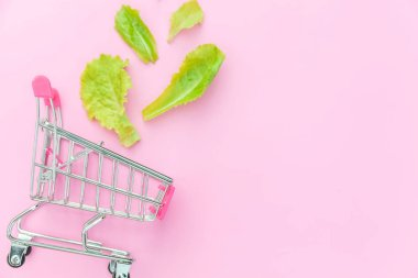Small supermarket grocery push cart for shopping with green lettuce leaves isolated on pink pastel colorful background