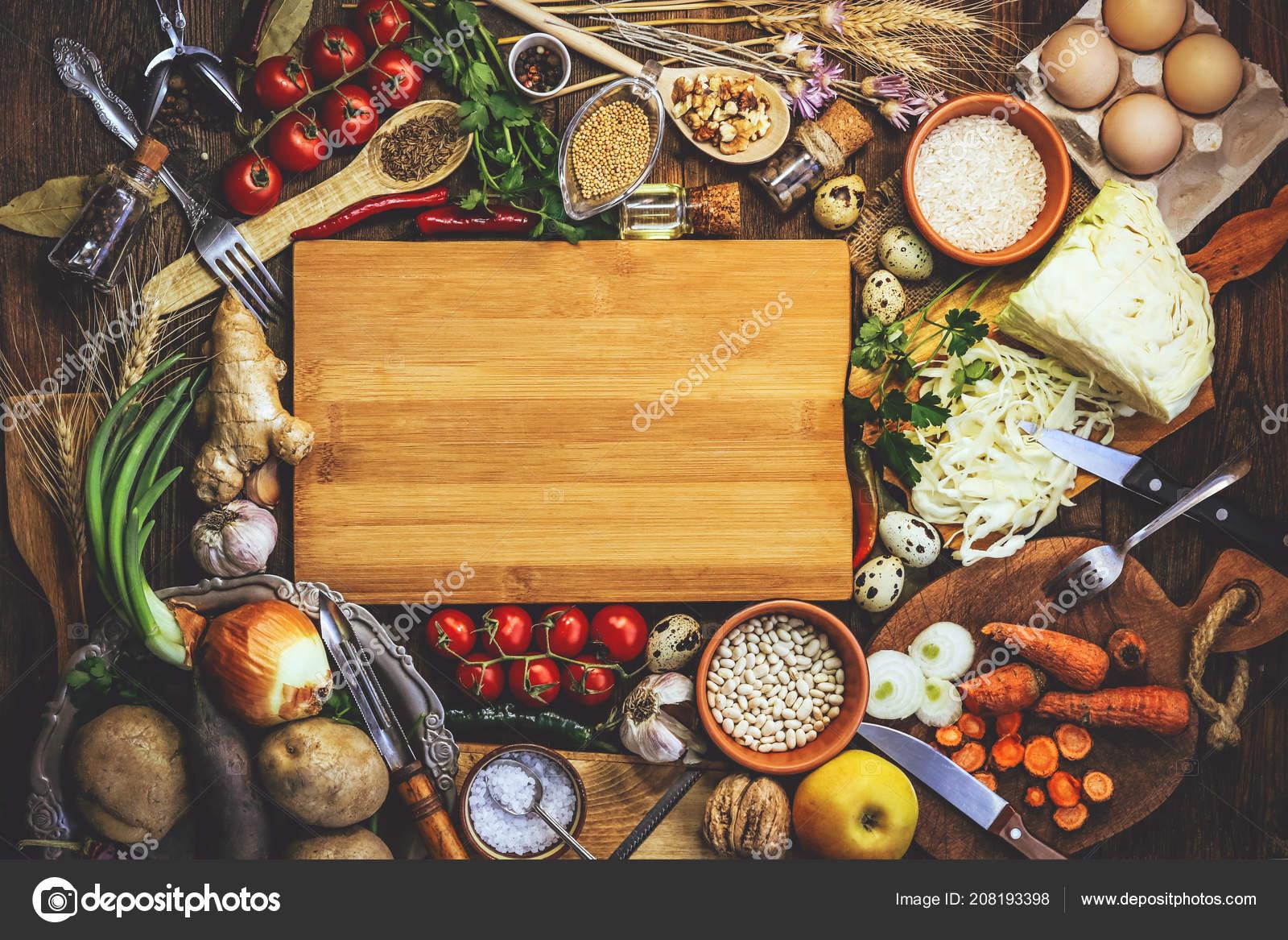 Prodotti Cucina Verdure Ingredienti Spezie Posto Testo ...