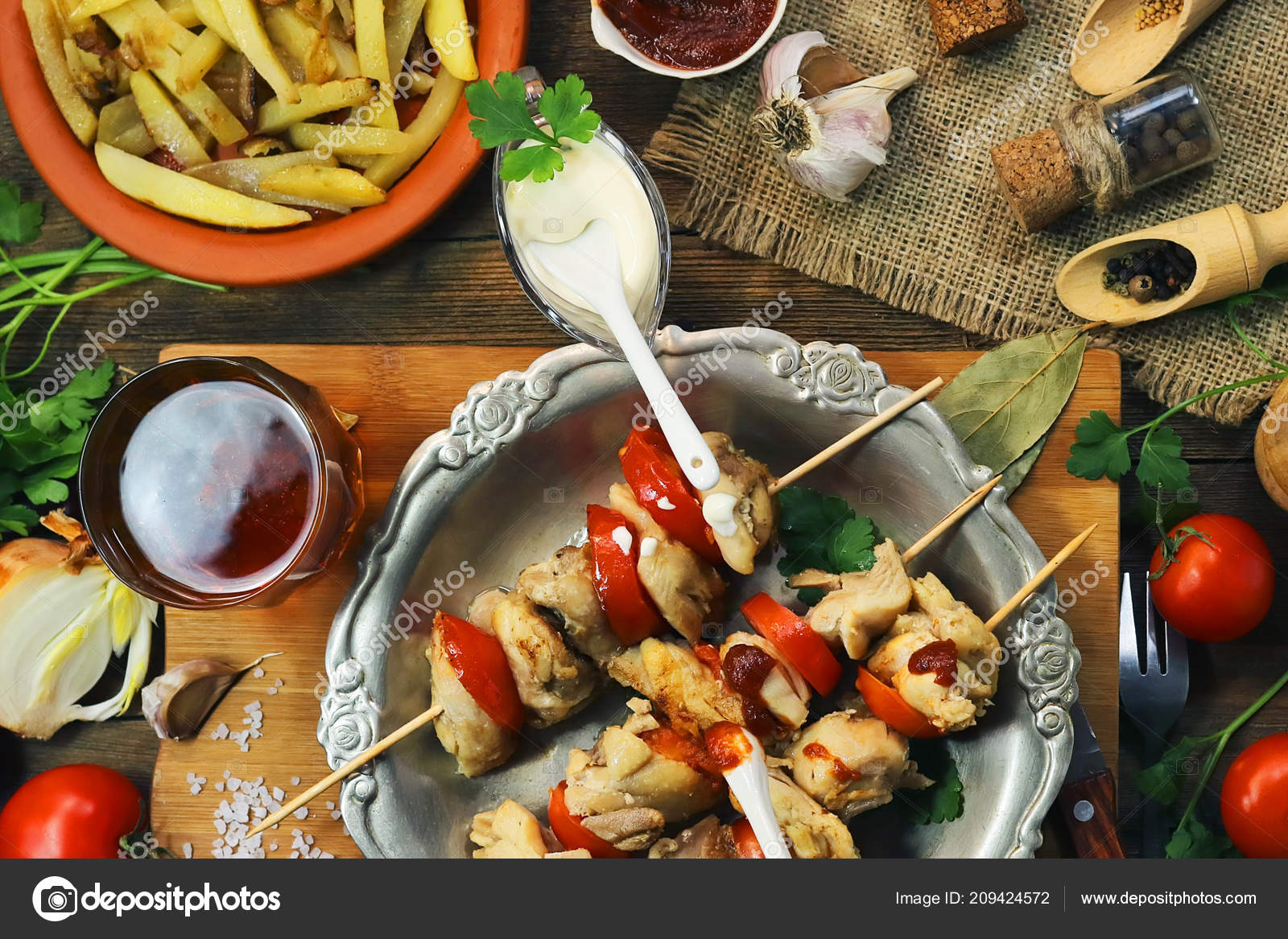 Fried Chicken Meat Wooden Sticks Food Background Stock Photo