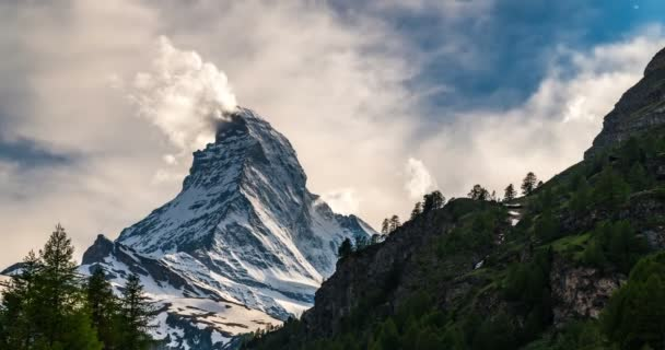 Beautiful  Matterhorn mountain(switzerland) ,at the top, the clouds move.Scenery before dawn During pre-summer