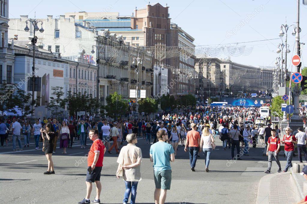 Champions League final KYIV, UKRAINE - May 26, 2018: fans cameras news