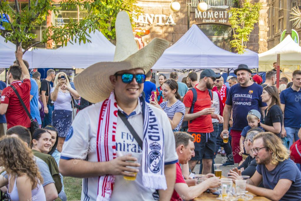 Champions League final KYIV, UKRAINE - May 26, 2018: fans cameras news