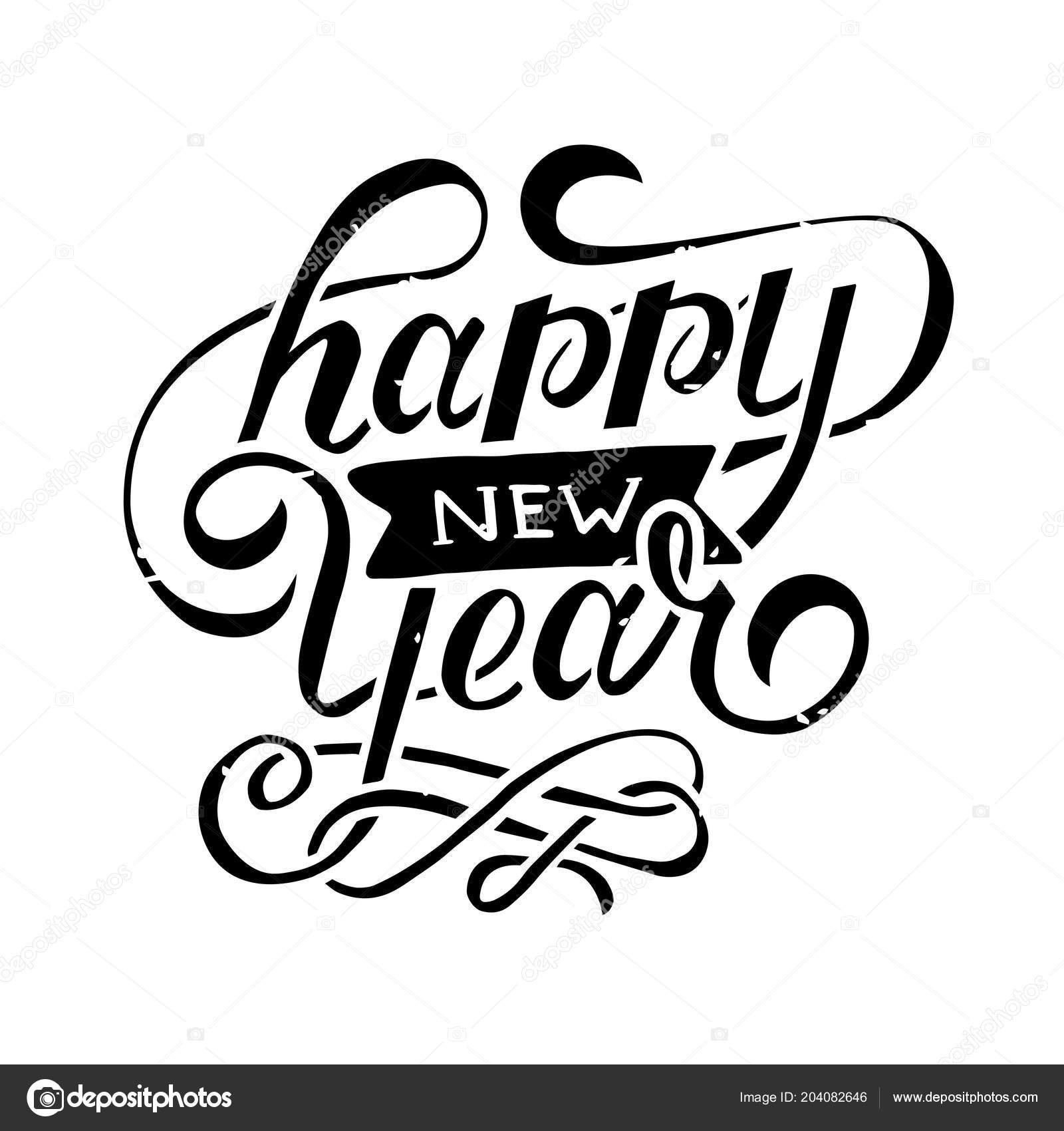 Happy New Year Vector Black Phrase Lettering Calligraphy ...
