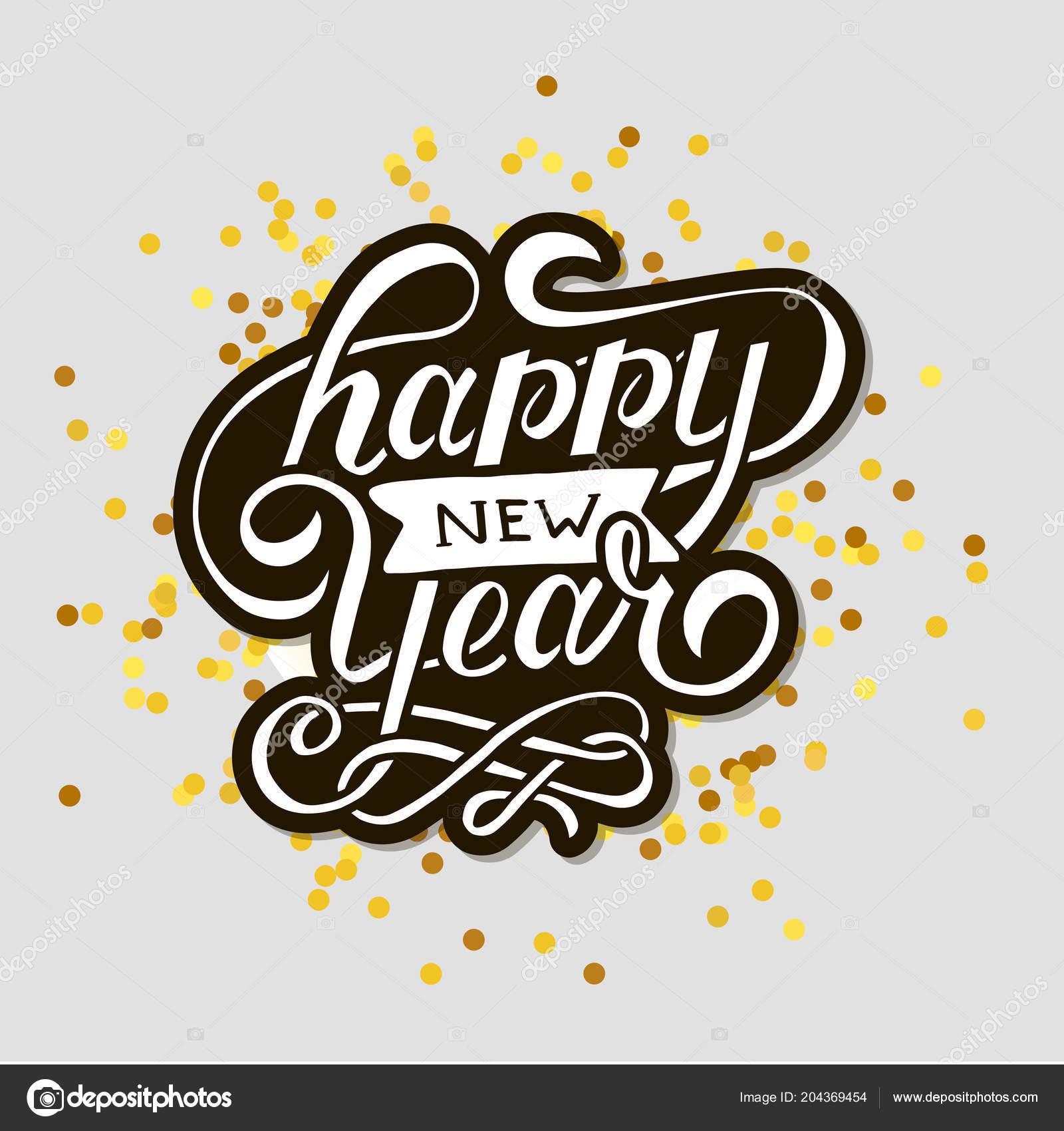 Feliz Año Nuevo Vector Gradiente Frase Letras Caligrafía