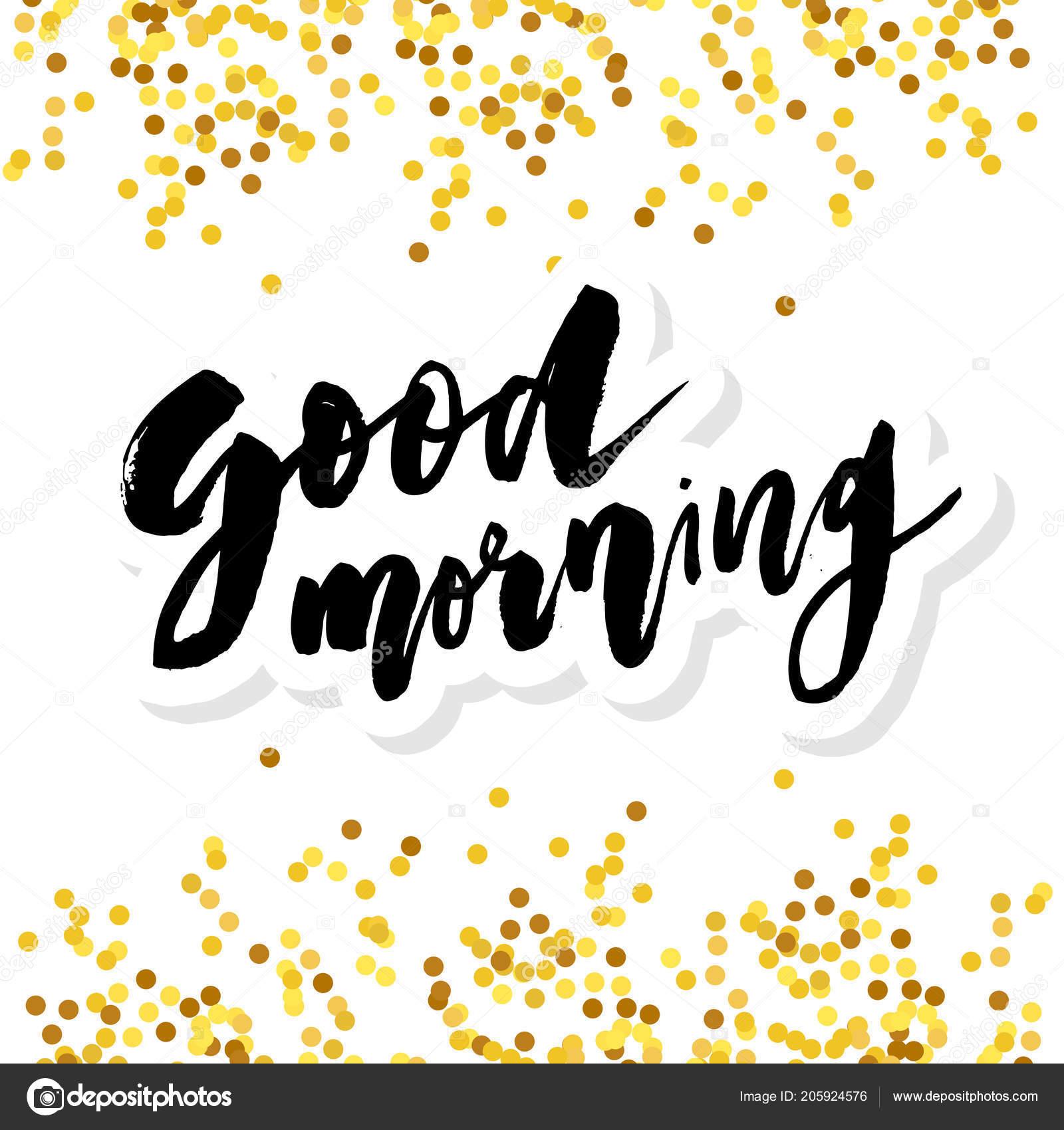 Guten Morgen Schriftzug Kalligraphie Vector Text Satz Gold