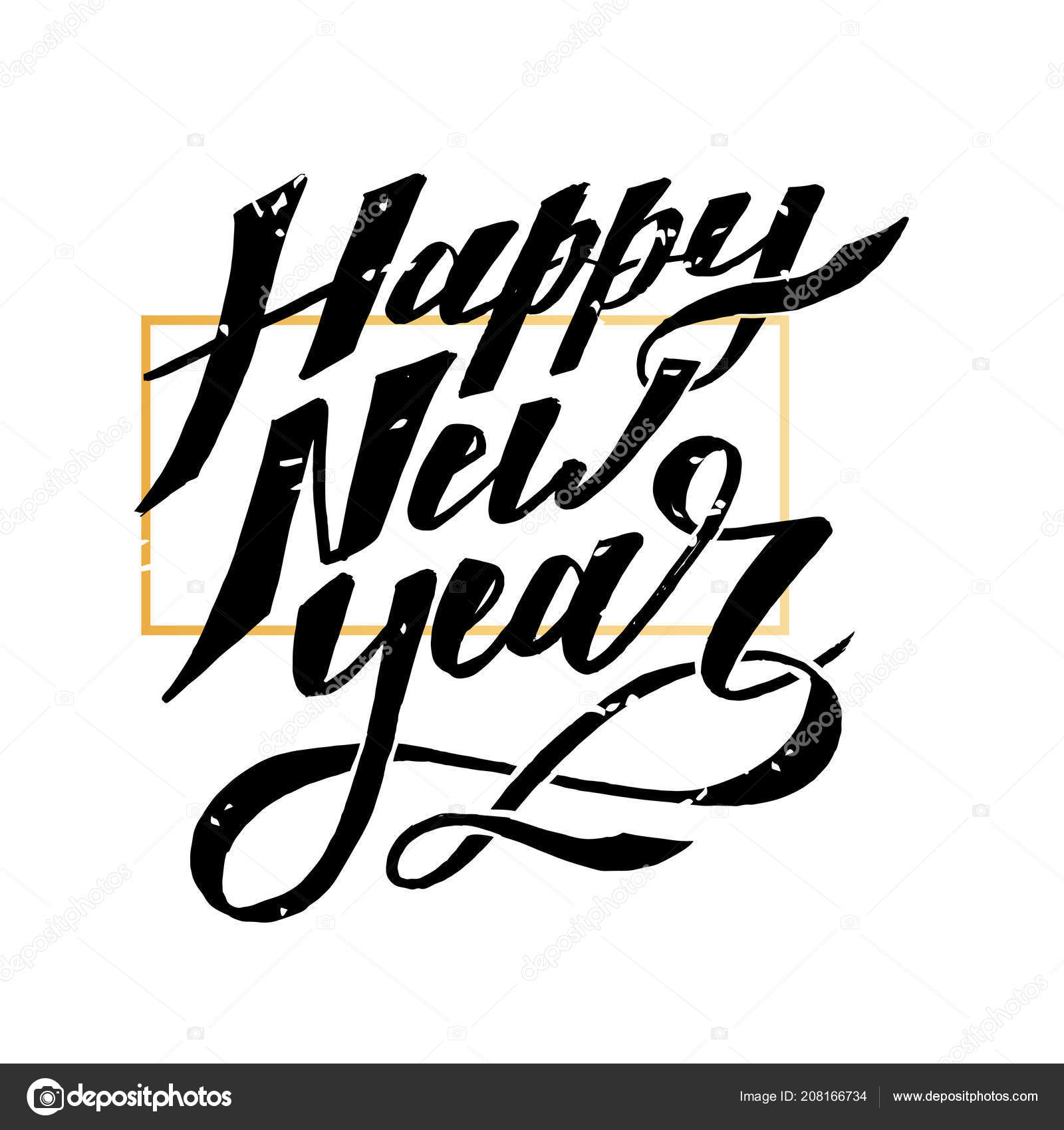 Happy New Year Vector Phrase Lettering Calligraphy Brush ...