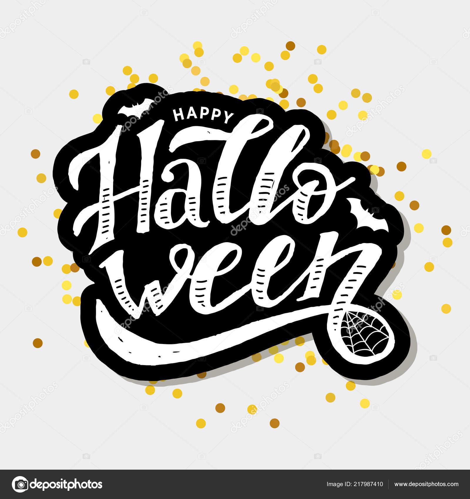 Happy Halloween Lettering Calligraphy Brush Text Holiday Illustration Gold Stock Photo C Lemonkey 217987410