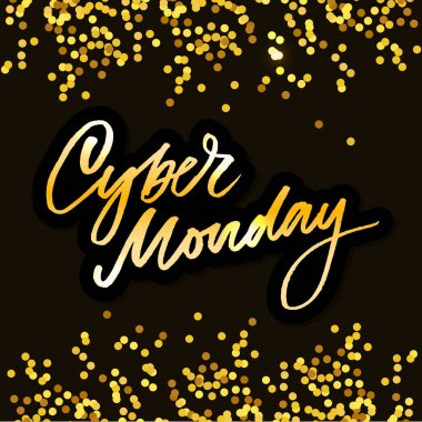 Vector illustration of Cyber Monday text for card banner. Handwritten calligraphy Cyber monday tag badge template. Lettering typography