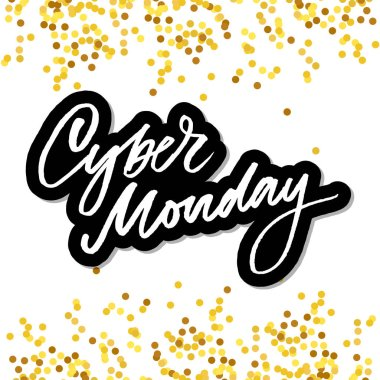 Cyber Monday Handwritten Calligraphy. Vector Illustration of Ink Brush Lettering Isolated over White