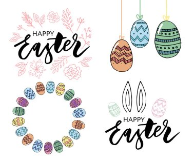 Easter eggs composition hand drawn black on white background. Decorative horizontal stripe from eggs with leaves and watercolor dots.