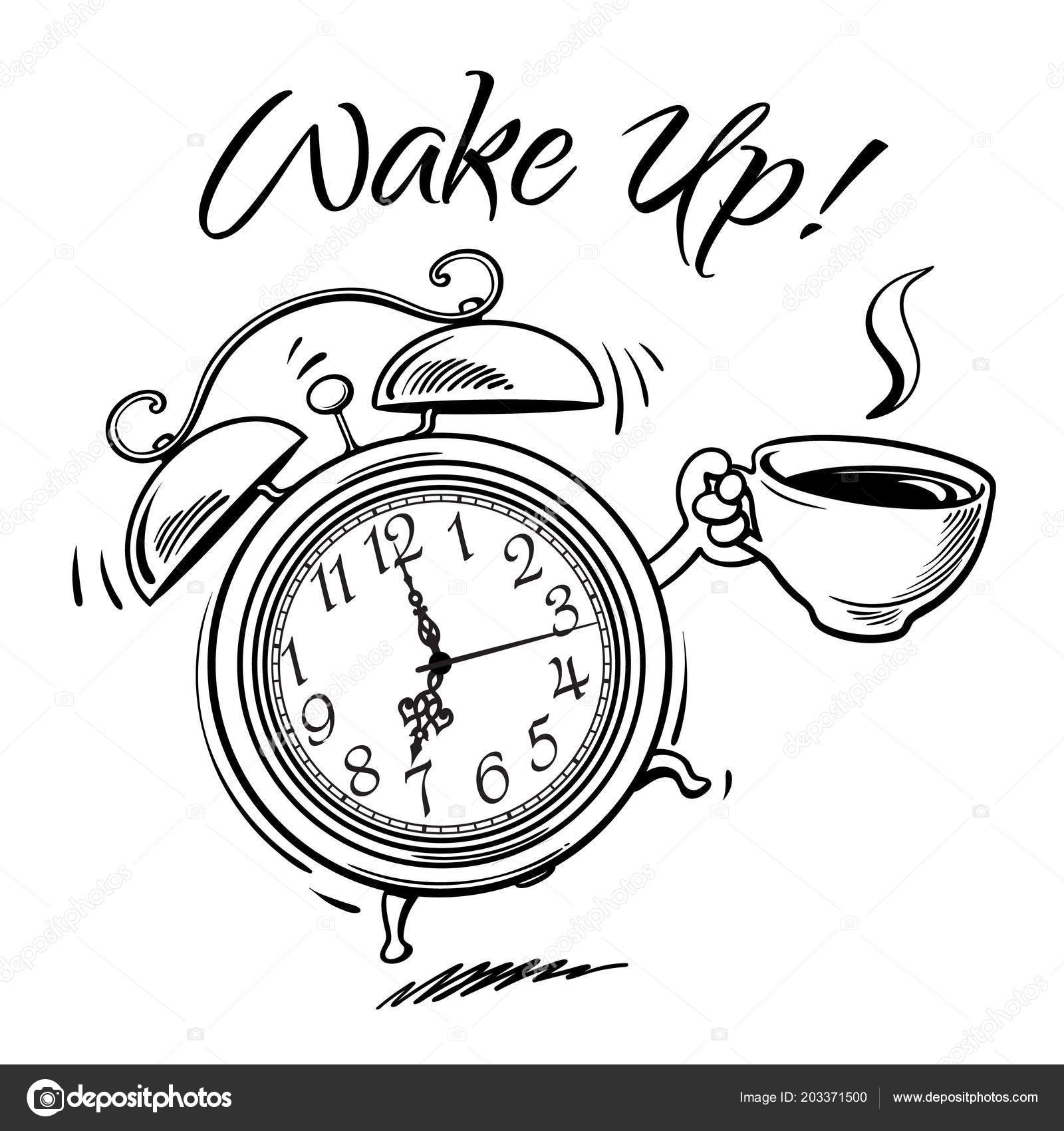 cartoon alarm clock cup hot coffee ringing wake text sketch stock Digital Alarm Clock cartoon alarm clock cup hot coffee ringing wake text sketch stock vector