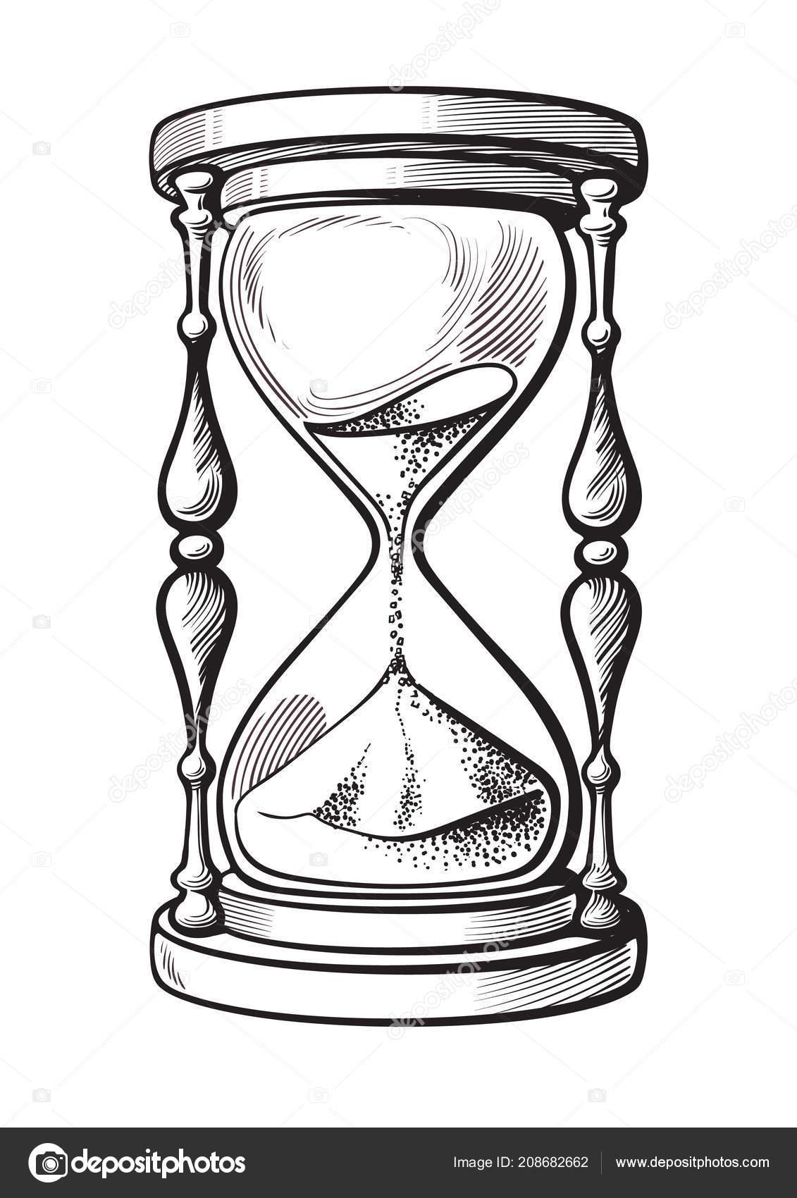 Reloj De Arena Dibujo De Vector Dibujado Mano Blanco Y Negro