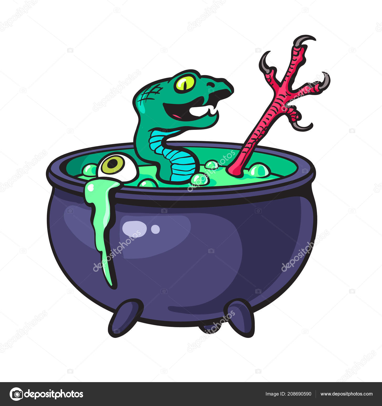 Halloween witches cauldron with green potion. Cartoon sketch style vector — Stock Vector