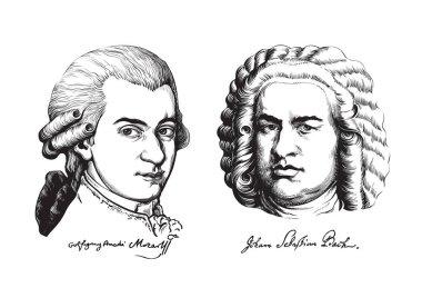 Wolfgang Amadeus Mozart and Johann Sebastian Bach. Vector.