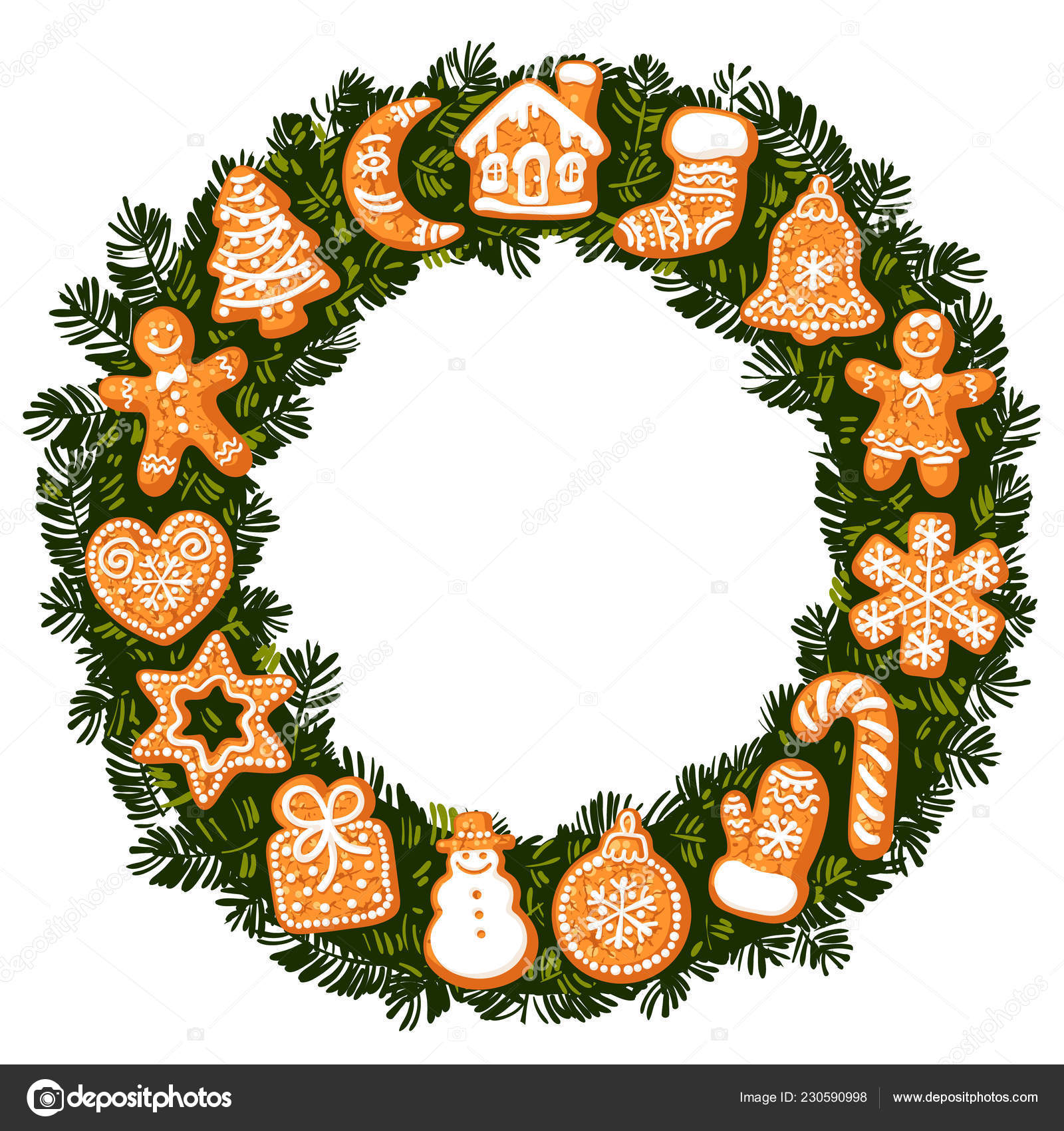 Christmas Wreath With Gingerbread Cookies Round Frame With Empty